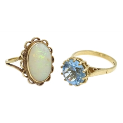 Gold oval opal ring and a blue stone set ring, both hallmarked 9ct