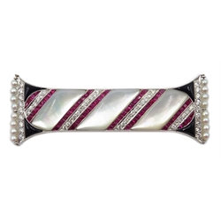 18ct white gold Art Deco style 'Pillar of King Solomon's Temple' brooch, set with mother of pearl, rubies, diamonds, onyx and seed pearls