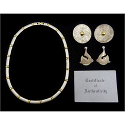 Greek silver and 18ct gold necklace with certificate, pair of silver and gold circular earrings, stamped 925 and one other pair of silver earrings, hallmarked