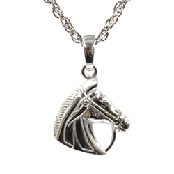 Silver horses head pendant necklace, stamped 925