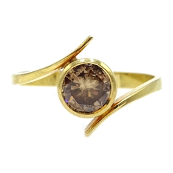 18ct gold Australian Argyle fancy champagne colour diamond ring, bezel set, stamped 750, diamond approx 0.7 carat