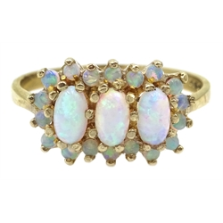 9ct gold opal cluster ring, hallmarked