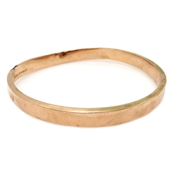 9ct rose gold bangle Chester 1925, approx 11.8gm