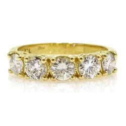 18ct gold five stone diamond ring, diamonds approx 1.2 carat
