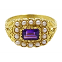 Silver-gilt amethyst and pearl ring, stamped Sil