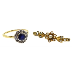 18ct gold (tested) sapphire and diamond circular cluster ring and gold seed pearl bar brooch