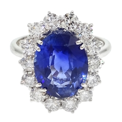 18ct white gold oval sapphire and diamond cluster ring hallmarked, sapphire approx 5.7 carat, diamonds 1.3 carat