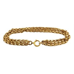 Gold three chain link bracelet, stamped 9c, approx 11.9gm