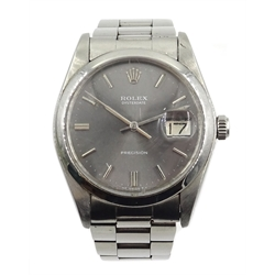Rolex Oysterdate Precision gentleman's stainless steel manual wind wristwatch, model no 6694, serial no 3808363, boxed