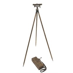 19th Century brass surveyors level by Cary, London with spirit level in mahogany box and with folding tripod stand