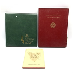 Cased copy of the  National Atlas of Wales pub. by University of Wales Press The National Atlas of Malawi in ring folder and Atlas of Tasmania edited