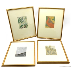 After Korin and others - Pair of early 20th Century Japanese woodblock prints 'Ocean of Art' 15cm x 12cm and another pair of similar prints