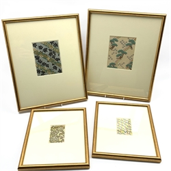 After Korin and others - Pair of early 20th Century Japanese woodblock prints 'Ocean of Art' 15cm x 12cm and another pair after Tanaka 9cm x 6cm