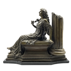 Large bronze of a classically draped female figure, seated, holding a rose and leaning against a column on a marble base H44cm x L52cm