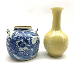 19th Century Chinese circular jar decorated with figures on horseback in blue and white H12cm and a Chinese vase decorated with birds and trees on a