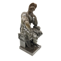 After the Antique: Bronze of a seated Roman soldier resting his head on his hand, seated on a stone column, inscribed 'Barbedienne Fondeur' H74cm