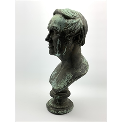 Patinated metal bust of a gentleman on socle base H51cm