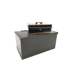 Painted metal strong box 61cm x 33cm x 30cm and a metal cash box