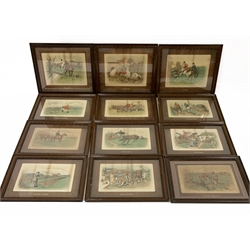 George Herbert Jalland (British 1863-1911): Humorous Hunting Scenes, set of twelve lithographs 39cm x 49cm in matching frames (12)