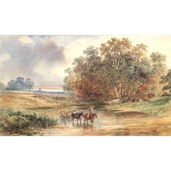 Alfred Vickers Snr (British 1786-1868): Crossing the Stream, watercolour, signed and dated 1866 30cm x 50cm