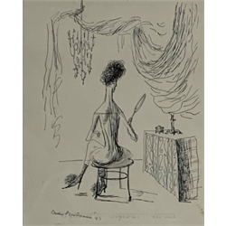 Rhoda Helen (Dodie) Masterman (1918-2009) Lady at her Dressing Table, pen and ink signed and dated '41 and another of a lady at the piano each 26cm x