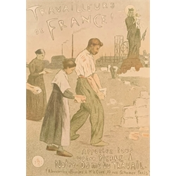 Etienne Moreau-Nelaton - 'Travailleurs de France' ,lithograph from the Maitres de l'Affiche series plate No. 198 printed by Charles Verneau 30cm x 2