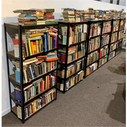 **WITHDRAWN** Set of six black shelving units, each with five adjustable shelves, H180cm x W90cm x D45cm