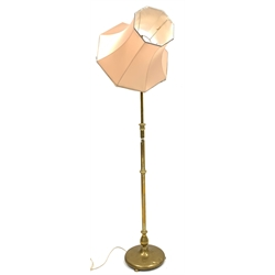 Early 20th century brass telescopic standard lamp, on circular base, with shade, H163cm (Excluding shade)