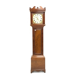 Early 19th century mahogany long case clock, swan neck pediment, plain pilasters and trunk door, raised on shaped bracket feet, the white painted ena