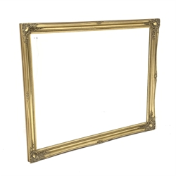 Large gilt framed mirror, with floral moulded and beaded edge and bevelled plate, 132cm x 106cm