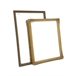 Rustic moulded gesso and wood framed mirror, with bevelled plate, (69cm x 45cm) with similar giltwood and gesso framed mirror, (49cm x 59cm)