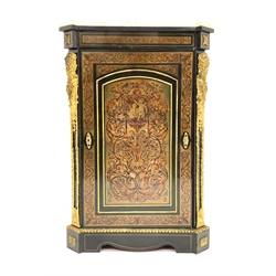 20th century ebonised wood and simulated Boulle work side cabinet, marble top over canted sides with figural gilt metal mounts, single paneled door e
