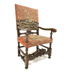 19th century walnut Jacobean style armchair, with needlework upholstered back and seat panel, reeded and acanthus leaf carved and scrolled arm termin