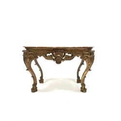 20th century French Louis XV style giltwood console table, with red marble serpentine top, with ornate carved frieze, apron and cabriole supports, W129cm, H90cm, D61cm