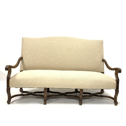 William and Mary style French walnut high back sofa, reeded and acanthus carved scrolled arm rests, back and seat upholstered in Russian linen, acant