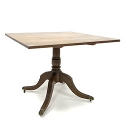 19th century mahogany tripod tilt top supper table, the square top having reeded moulded edge, raised on a turned column, with four reeded splayed su