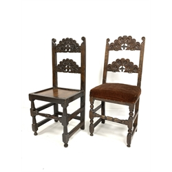 Early 18th century Derbyshire oak country chair, with scroll carved back, panelled seat and turned front supports and stretcher, (W47cm) together wit