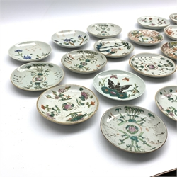 Collection of 22 Chinese provincial saucer dishes, mainly 19th Century, variously decorated and with painted marks D13cm - 14cm