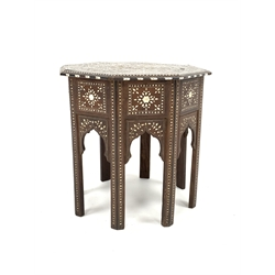 19th century Anglo-Indian ivory inlaid hardwood octagonal occasional table, with all over trailing foliate design and inlaid ebony banding, 52cm x 52cm, H52cm