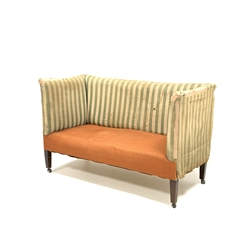 19th century mahogany framed two seat sofa of rectangular form, raised on square tapered supports, impressed mark C.V.S W134cm, H85cm, D63cm