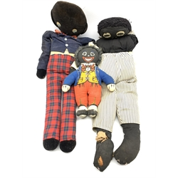 Dean's Rag Book Mr Golly doll H33cm and two others