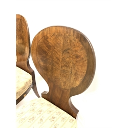 Set six 19th century mahogany spoon back dining chairs, bowed back panel with figured inlay, drop in upholstered seat pad, turned tapering front supports, W46cm
