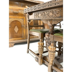 Early 20th century carved oak dining room suite, comprising of refectory style draw leaf dining table, with floral carved frieze, turned supports united by stretcher, (183cm x  92cm, H78cm) four matching chairs, (W50cm) and a bow front sideboard, raised back, three drawers, three cupboards, raised on carved bracket feet, (W153cm, H133cm, D53cm)