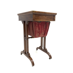 Late 19th/ early 20th century mahogany sewing table stamped 'Edwards and Roberts', cross banded top above compartmentalised frieze drawer, silk lined