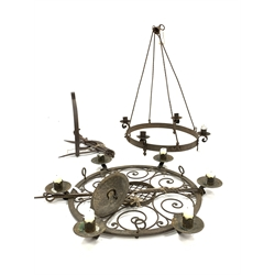 Wrought metal four branch ceiling light candle holder H70cm, a six branch ceiling light candle holder and an iron wreckon