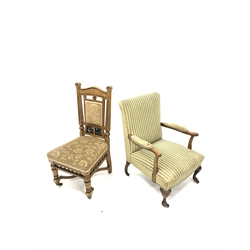 Georgian design beech framed open armchair, with out swept arms, raised on cabriole supports and castors, (W63cm) together with an Edwardian oak fram