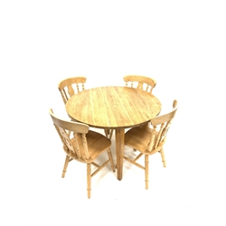 Contemporary solid oak circular dining table raised on square tapered supports (110cm x 110cm, H77cm) together with set four beach dining chairs, tur
