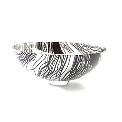 Gillies Jones Rosedale glass bowl 'Rain VII' with cut overlay decoration in black on a clear short pedestal foot D31cm, signed, titled and inscribed '07/132' and dated 2000