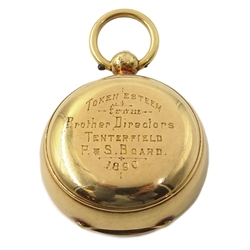 Victorian gold sovereign case, engraved initials and presentation engraving on reverse dated 1890, stamped 15ct, approx 27.2gm