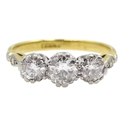 Gold three stone old cut diamond ring, central diamond approx 0.3 carat, stamped 18ct
